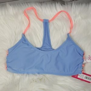 NWT Soft Blue with Coral Open Sides Bikini